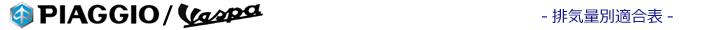 排気量別バイクバッテリー適合表(Piaggio/Vespa)