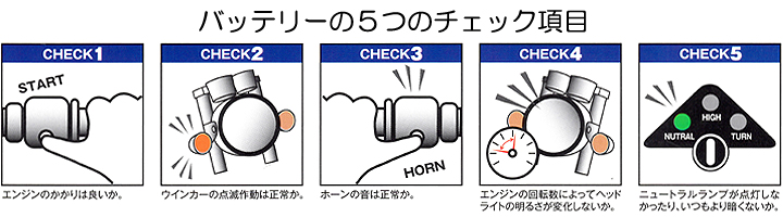 バイクバッテリーの5つのチェック項目